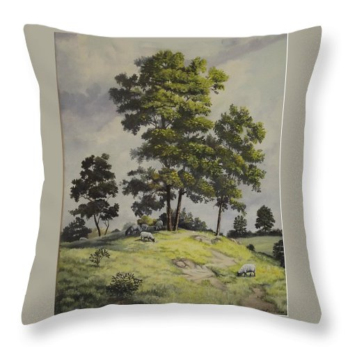Landscape Throw Pillow featuring the painting A Lazy Day For Grazing by Wanda Dansereau