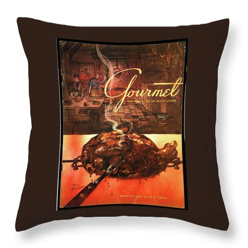Illustration Throw Pillow featuring the photograph A Leg Of Lamb On A Spit Beneath An Etching by Henry Stahlhut