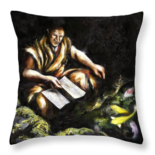 Japanesque Throw Pillow featuring the painting A Letter by Hiroko Sakai