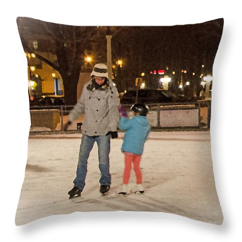 Ice Skating Throw Pillow featuring the photograph A Lil Help From Dad by Susan McMenamin