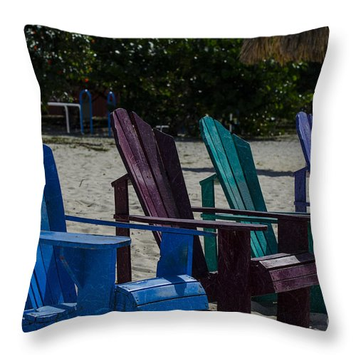 Beach Chairs Throw Pillow featuring the photograph A Line Up Of A Different Color by Judy Wolinsky