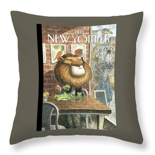 Restaurant Throw Pillow featuring the painting A New Leaf by Peter de Seve