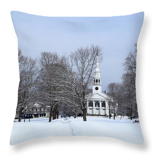 Guilford Green Throw Pillow featuring the photograph A Little Red White And Blue by Catie Canetti
