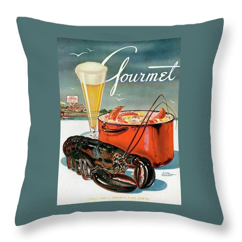 Illustration Throw Pillow featuring the photograph A Lobster And A Lobster Pot With Beer by Henry Stahlhut