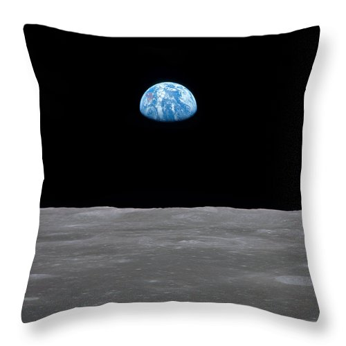 Moon Throw Pillow featuring the photograph A Long Way From Home by Ricky Barnard