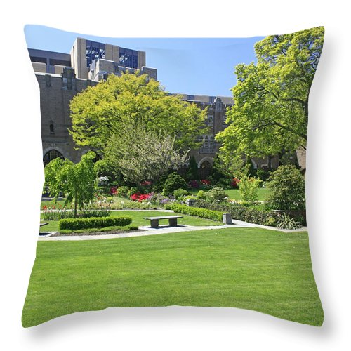 Garden Throw Pillow featuring the photograph A Lovely View Of A Little Garden At The United States Military A by James Connor