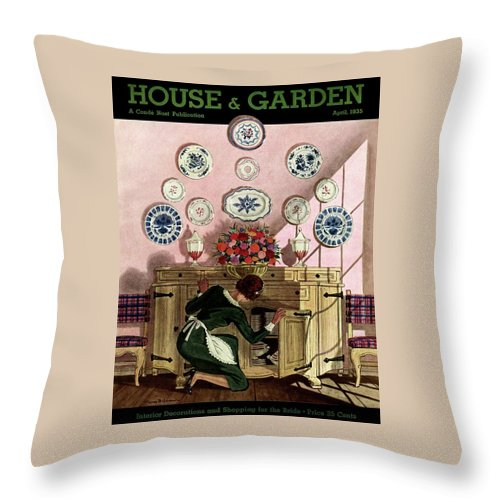 House And Garden Throw Pillow featuring the photograph A Maid Getting China From A French Provincial by Pierre Brissaud