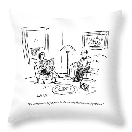 A Man And A Woman Talk In Their Living Room Throw Pillow