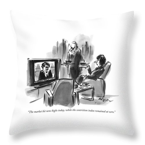 A Man And Woman Are Seen In A Living Room Throw Pillow
