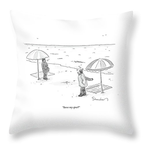 Winter Throw Pillow featuring the drawing A Man Bundled Up In Winter Gear Departs by Danny Shanahan