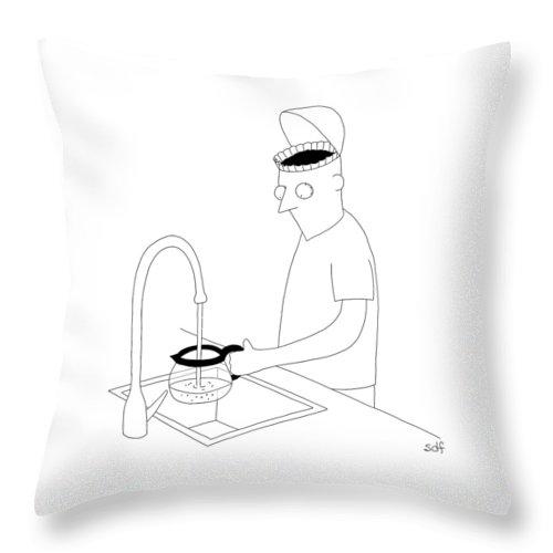 A Man Filling Up His Coffee Pot Throw Pillow