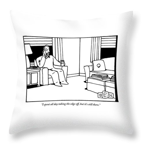 Drink Throw Pillow featuring the drawing A Man, Holding A Glass Of Wine, Sitting In An by Bruce Eric Kaplan