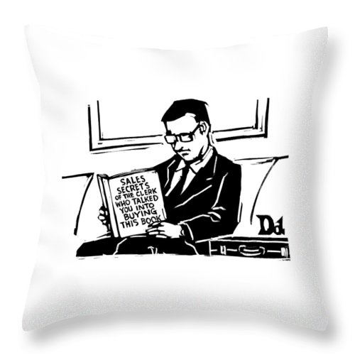 A Man In A Suit Reads A Book With The Title: Throw Pillow