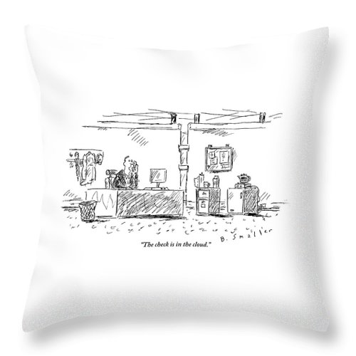 Computers Throw Pillow featuring the drawing A Man In An Office by Barbara Smaller