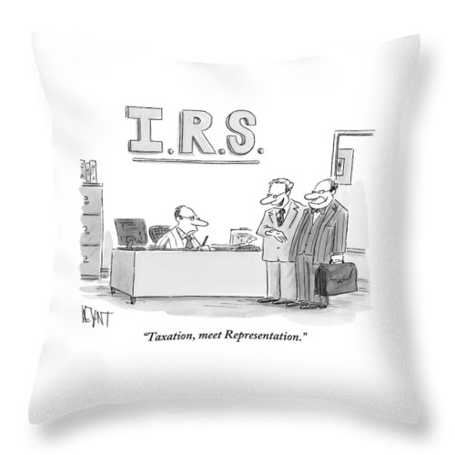 A Man Introduces A Lawyer To An Irs Agent Throw Pillow
