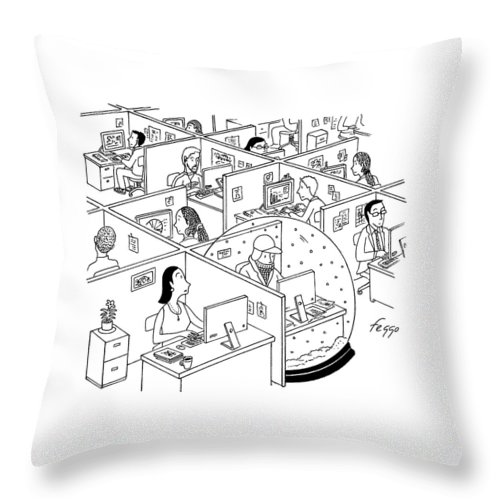 Snow Globe Throw Pillow featuring the drawing A Man Is Seen Sitting In An Oversized Snow Globe by Felipe Galindo