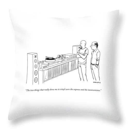 Records Throw Pillow featuring the drawing A Man Shows Another Man His Extensive Collection by Alex Gregory