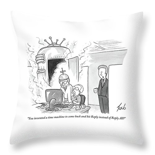 Time Machine Throw Pillow Featuring The Drawing A Man Sits In An Office Cubicle By Tom