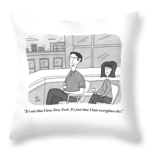 New York Throw Pillow featuring the drawing A Man Speaks To A Woman On A Balcony In The City by Peter C. Vey