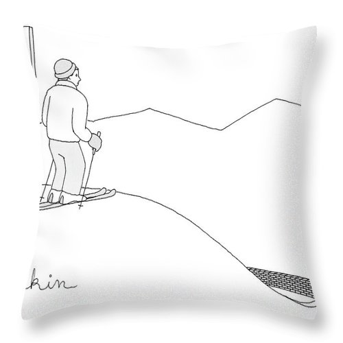 Captionless Throw Pillow featuring the drawing A Man Stands At The Top Of A Ski Slope by Charlie Hankin