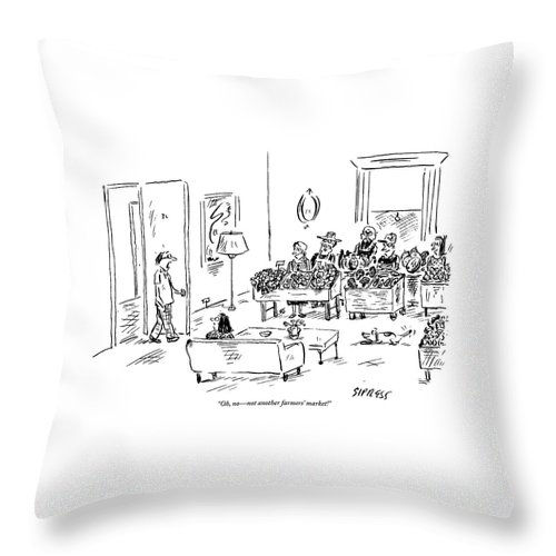 Husbands Coming Home Throw Pillow featuring the drawing A Man Walks Into His Home To Find A Farmers by David Sipress