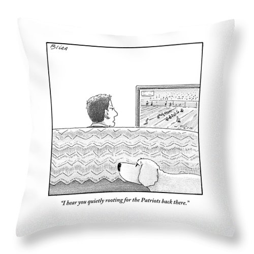 Football Throw Pillow featuring the drawing A Man Watches His Football Team Take by Harry Bliss