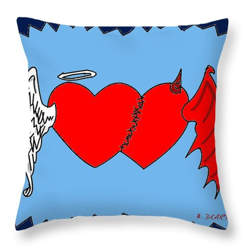 Harts Throw Pillow featuring the digital art A Match Between Heaven And Hell by Brian Dearth