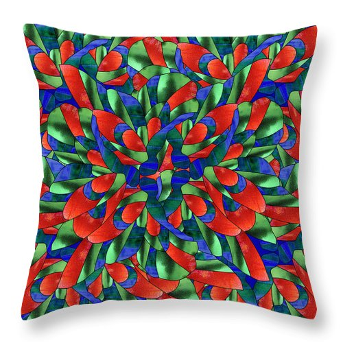 Abstract Throw Pillow featuring the mixed media A Maze Of Nature by Georgiana Romanovna