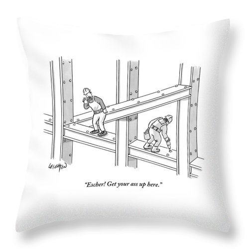 Escher! Get Your Ass Up Here. Throw Pillow featuring the drawing Escher Get your ass up here by Robert Leighton