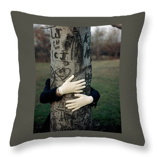 Fashion Throw Pillow featuring the photograph A Model Hugging A Tree by Frances Mclaughlin-Gill