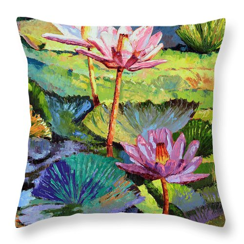 Water Lilies Throw Pillow featuring the painting A Moment In Sunlight by John Lautermilch