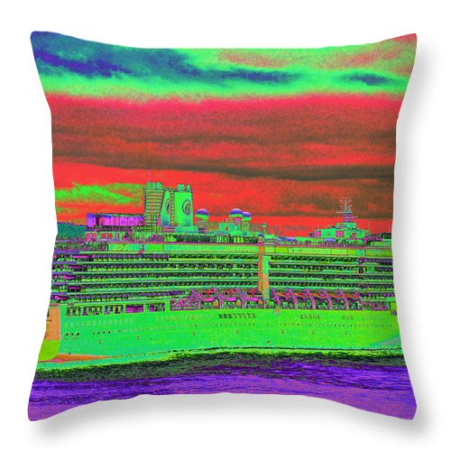 Holland America Throw Pillow featuring the photograph A More Colorful HAL by Richard Henne