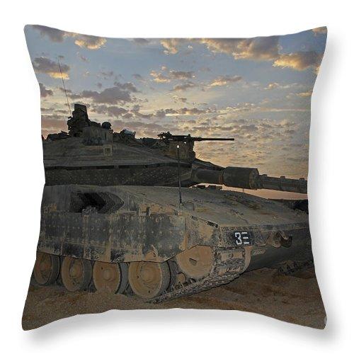 Battletank Throw Pillow featuring the photograph A Morning Prayer On An Israel Defense by Ofer Zidon