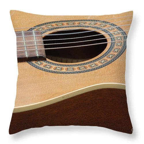 Guitar Throw Pillow featuring the photograph A Music Maker 4 by Paddy Shaffer