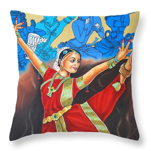 Bharathanatyam Throw Pillow featuring the painting A Mystic Communion With God by Ragunath Venkatraman