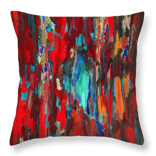 Abstract Art Throw Pillow featuring the painting A New Beginning by Billie Colson