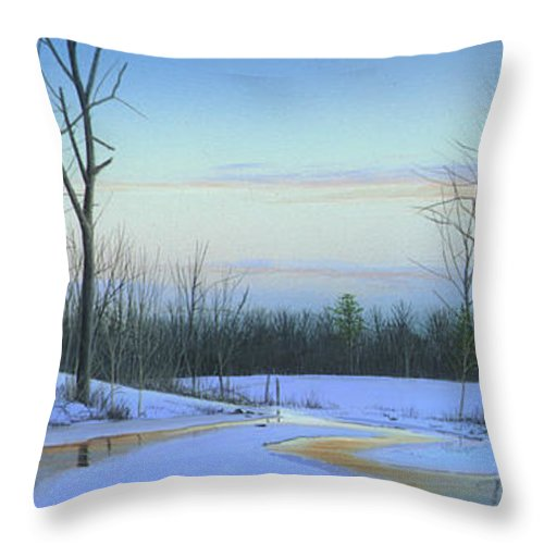 Landscape Throw Pillow featuring the painting A New Dawn by Mike Brown