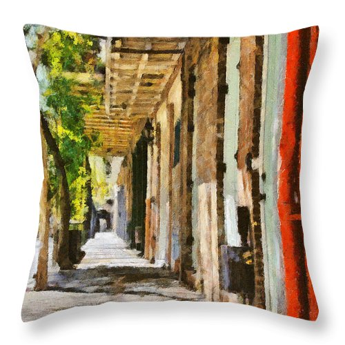 Alley Throw Pillow featuring the photograph A New Orleans Alley by Christine Till