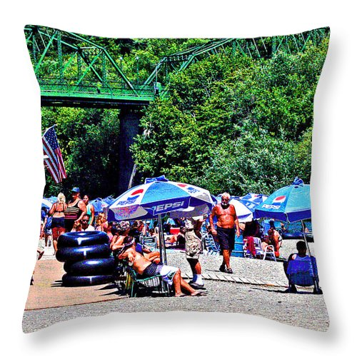 Russian River Throw Pillow featuring the photograph A Norcal River Beach by Joseph Coulombe