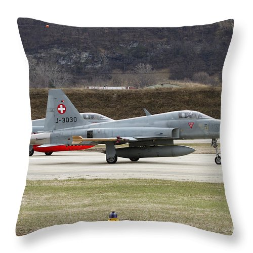 No People Throw Pillow featuring the photograph A Northrop F-5e Tiger Of The Swiss Air by Luca Nicolotti