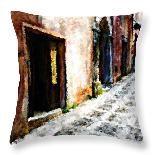 Painting Throw Pillow featuring the photograph A Painting An Italian Street by Mike Nellums