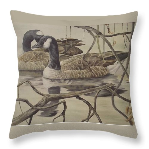 Water Throw Pillow featuring the painting A Pair Of Ducks by Wanda Dansereau