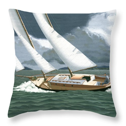 Gulf Islands Throw Pillow featuring the painting A Passing Squall by Gary Giacomelli