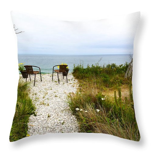 A Peaceful Respite By The Shore Throw Pillow featuring the photograph A Peaceful Respite By The Shore by Michelle Constantine