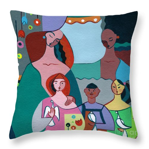 Peace Throw Pillow featuring the painting A Peaceful World For Our Children by Elisabeta Hermann