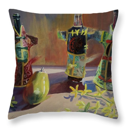 Oil Throw Pillow featuring the painting A Pear And Three Of A Kind by Karen Fess