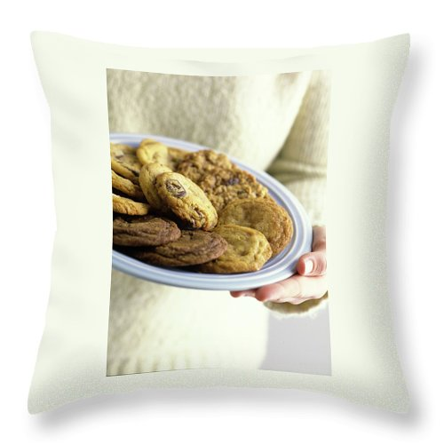 Cooking Throw Pillow featuring the photograph A Plate Of Cookies by Romulo Yanes