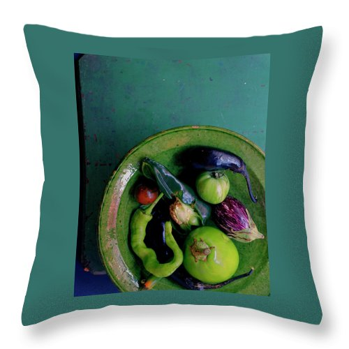 Fruits Throw Pillow featuring the photograph A Plate Of Vegetables by Romulo Yanes