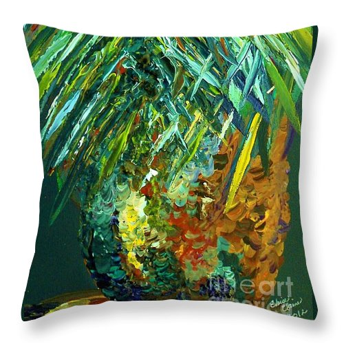 Fruit Throw Pillow featuring the painting A Popping Pineapple by Eloise Schneider Mote