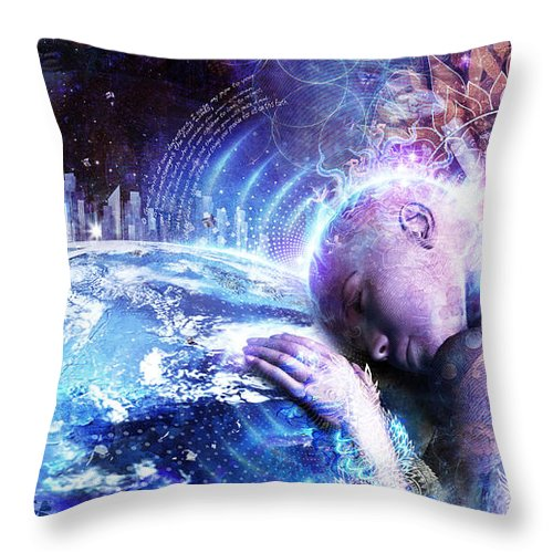 Cameron Gray Throw Pillow featuring the digital art A Prayer For The Earth by Cameron Gray